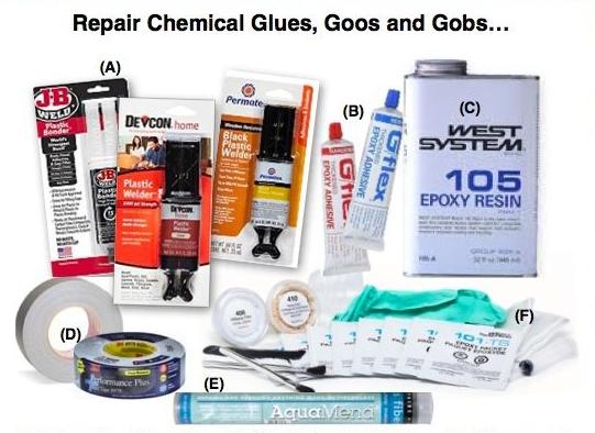 Kayak Repair Chemicals and Materials